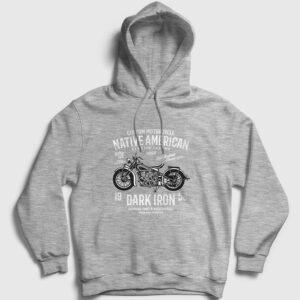 Native American Motor Kapşonlu Sweatshirt gri kırçıllı