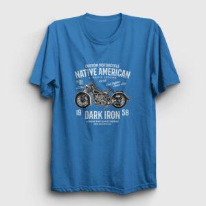 Native American Motor Tişört açık mavi
