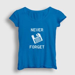 Never Forget Floppy Disk Kadın Tişört açık mavi