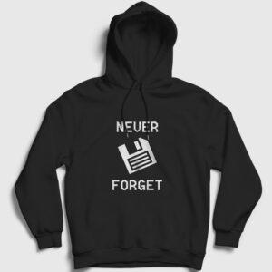 Never Forget Floppy Disk Kapşonlu Sweatshirt siyah
