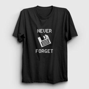 Never Forget Floppy Disk Tişört siyah
