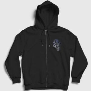 Night Rider Fermuarlı Kapşonlu Sweatshirt siyah