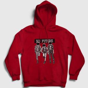 No Future Kapşonlu Sweatshirt kırmızı