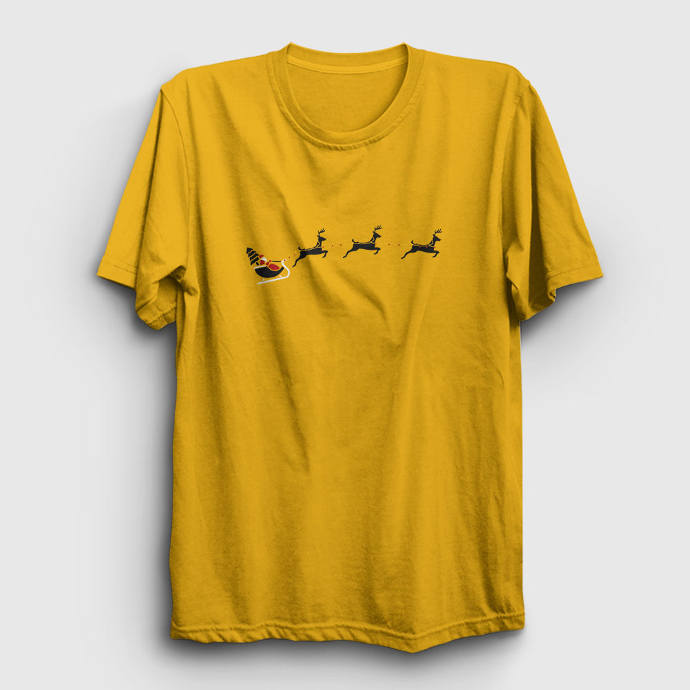 noel baba ve geyikler tişört sarı