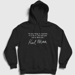 Not A Marxist Kapşonlu Sweatshirt siyah