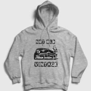 Not Old Vintage Kapşonlu Sweatshirt gri kırçıllı