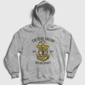Ocean Spirit Kapşonlu Sweatshirt gri kırçıllı