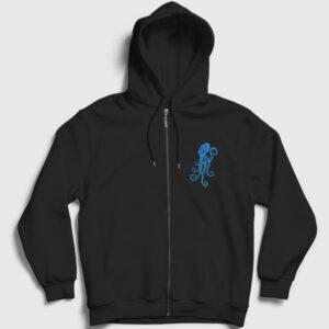 Octopus Fermuarlı Kapşonlu Sweatshirt siyah
