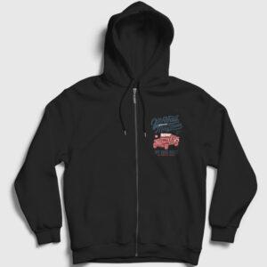 Off Road Jeep Fermuarlı Kapşonlu Sweatshirt siyah