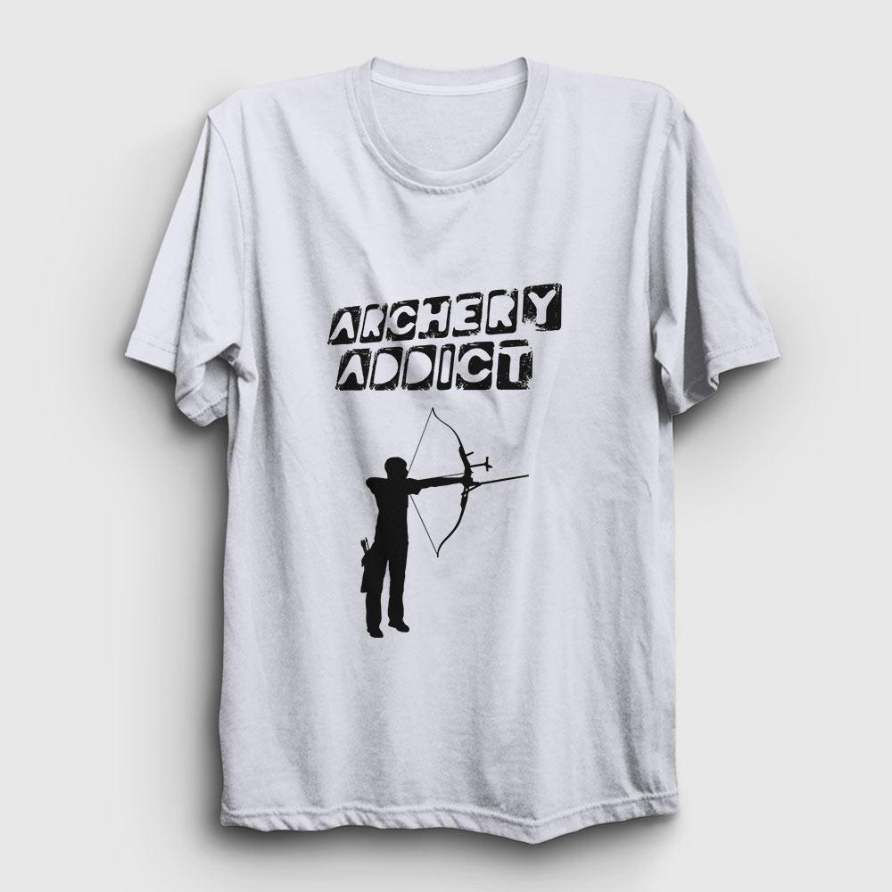 okçuluk tişört archery addict beyaz