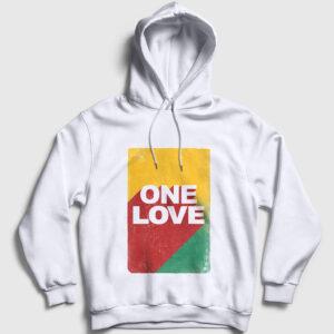 One Love Kapşonlu Sweatshirt beyaz