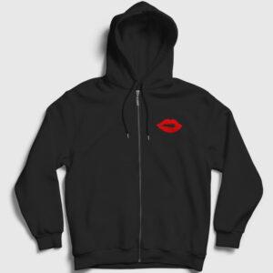 Öpücük Fermuarlı Kapşonlu Sweatshirt siyah