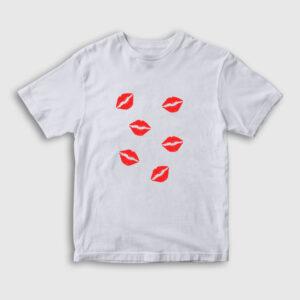 Öpücükler Çocuk Tişört beyaz