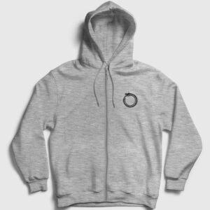 Ouroboros Fermuarlı Kapşonlu Sweatshirt gri kırçıllı