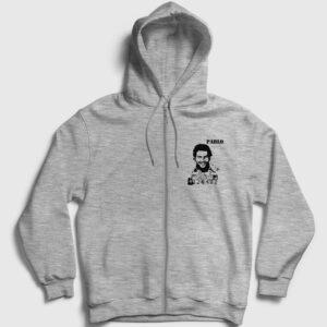 Pablo Escobar Fermuarlı Kapşonlu Sweatshirt gri kırçıllı