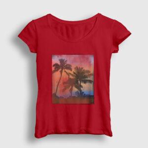 Palmiye Ağacı Kadın Tişört kırmızı