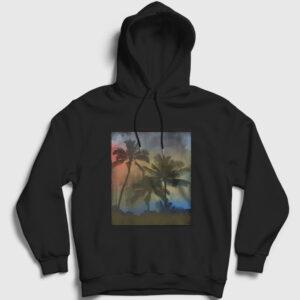Palmiye Ağacı Kapşonlu Sweatshirt siyah