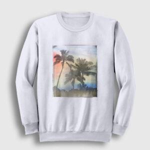 Palmiye Ağacı Sweatshirt beyaz