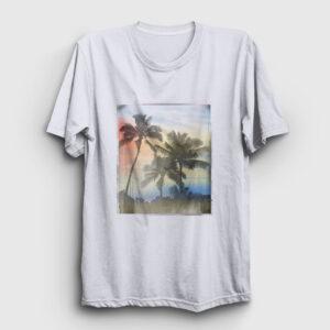 Palmiye Ağacı Tişört beyaz