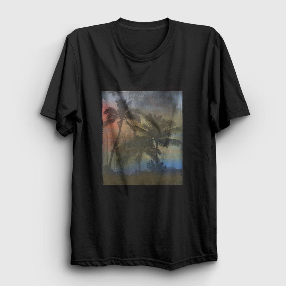 palmiye ağacı tişört siyah