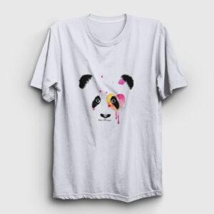 Panda Surat Tişört beyaz
