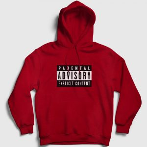 Parental Advisory Kapşonlu Sweatshirt kırmızı