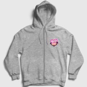 Pembe Mor Baykuş Fermuarlı Kapşonlu Sweatshirt gri kırçıllı