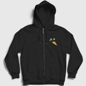 Penguen Fermuarlı Kapşonlu Sweatshirt siyah
