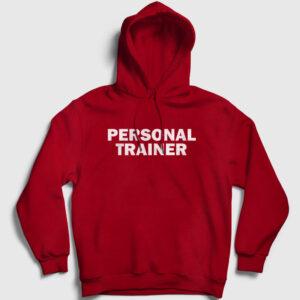Personal Trainer Front Kapşonlu Sweatshirt kırmızı