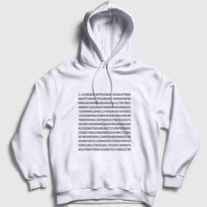 Pi Sayısı Kapşonlu Sweatshirt beyaz