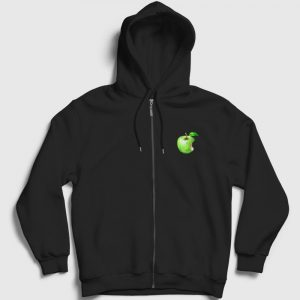 Piksel Elma Fermuarlı Kapşonlu Sweatshirt siyah
