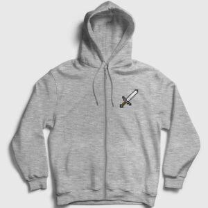 Pixel Sword Fermuarlı Kapşonlu Sweatshirt gri kırçıllı