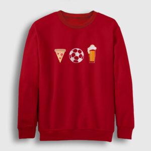 Pizza Futbol Bira Sweatshirt kırmızı
