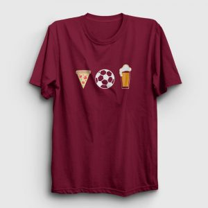 Pizza Futbol Bira Tişört bordo