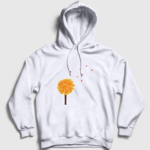 Portakal Ağacı Kapşonlu Sweatshirt beyaz