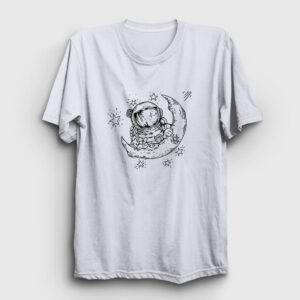 Poz Veren Astronot Tişört beyaz