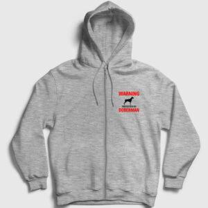 Protected By Doberman Fermuarlı Kapşonlu Sweatshirt gri kırçıllı