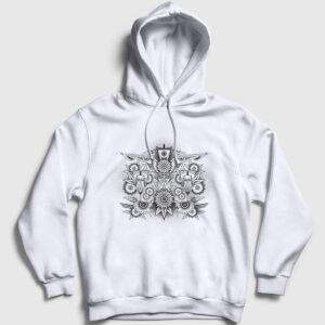 Psychedelic Kapşonlu Sweatshirt beyaz