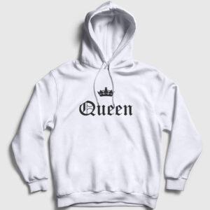 Queen Kapşonlu Sweatshirt beyaz