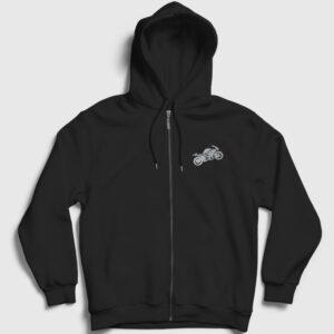 Racer Fermuarlı Kapşonlu Sweatshirt siyah