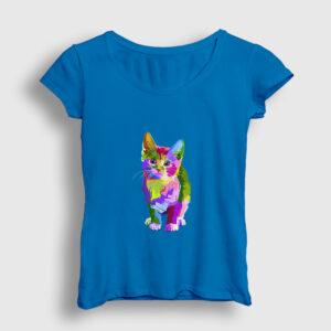 Renkli Kedi Kadın Tişört açık mavi