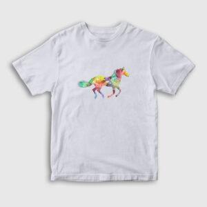 Renkli Silüet At Çocuk Tişört beyaz