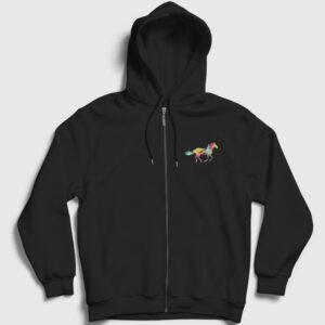 Renkli Silüet At Fermuarlı Kapşonlu Sweatshirt siyah