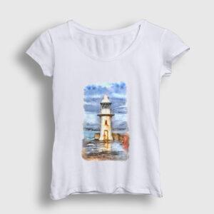 Resim Deniz Feneri Kadın Tişört beyaz
