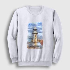 Resim Deniz Feneri Sweatshirt beyaz