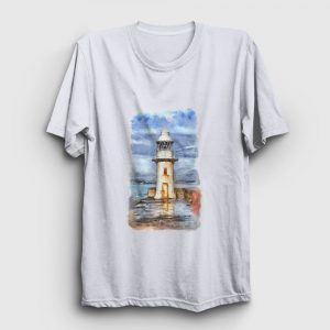 Resim Deniz Feneri Tişört beyaz