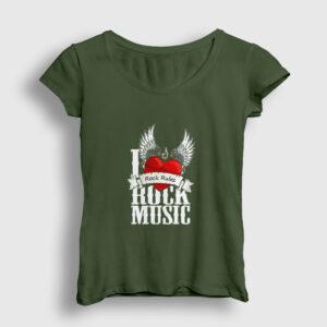 Rock Rules Kadın Tişört haki