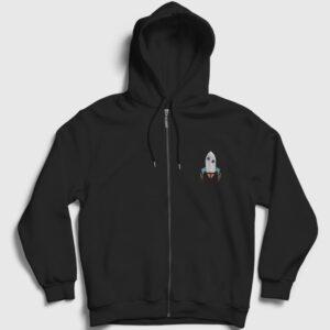 Roket Fermuarlı Kapşonlu Sweatshirt siyah