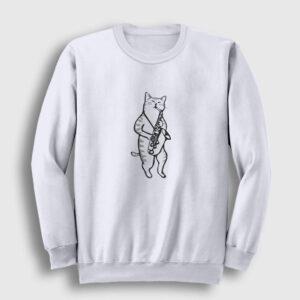 Saksafon Çalan Kedi Sweatshirt beyaz