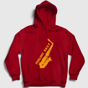 Saksafon Kapşonlu Sweatshirt – Feeling Saxy kırmızı